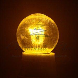 Лампа шар e27 6 LED  Ø45мм – желтая, прозрачная колба, эффект лампы накаливания