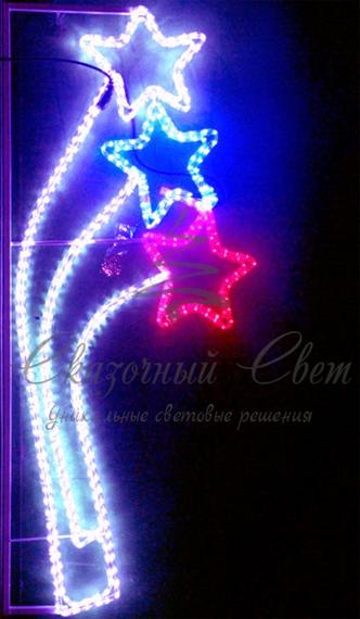 Светодиодная консоль Звезды, бело-сине-красная, Размер 0.8*1.5 3