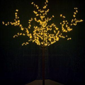 Светодиодное дерево «Сакура», высота 2,4 м, диаметр кроны 1,72м, желтые диоды, IP 44, понижающий трансформатор в комплекте, NEON-NIGHT