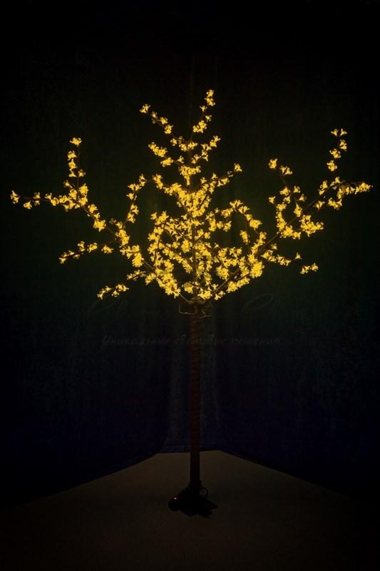 """Светодиодное дерево """"Сакура"""", высота 2,4 м, диаметр кроны 1,72м, желтые диоды, IP 44, понижающий трансформатор в комплекте, NEON-NIGHT 1"""