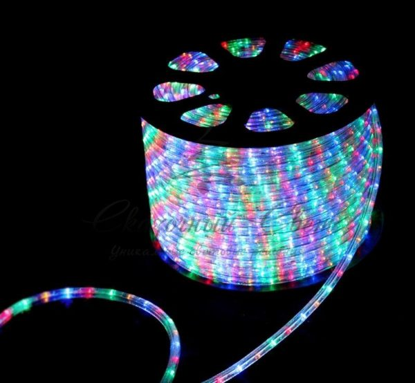 Дюралайт LED, свечение с динамикой (3W) - мульти (RYGB), 24 LED/м, бухта 100м 3