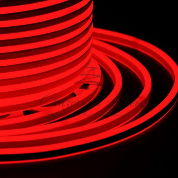 Гибкий Неон LED SMD, компактный 7х12мм, двусторонний, красный, 120 LED/м, бухта 100м