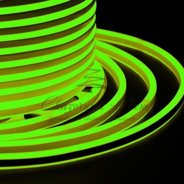 Гибкий Неон LED SMD, компактный 7х12мм, двусторонний, зелёный, 120 LED/м, бухта 100м