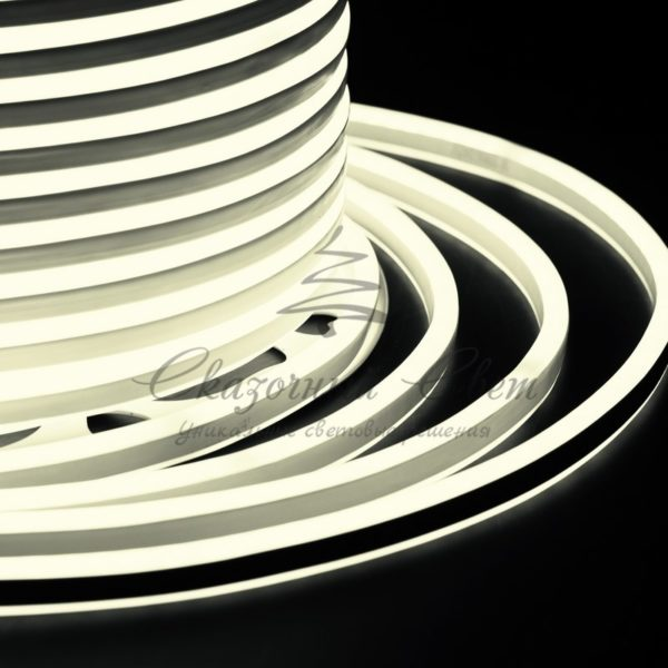 Гибкий Неон LED SMD, компактный 7х12мм, двусторонний, теплый белый, 120 LED/м, бухта 100м