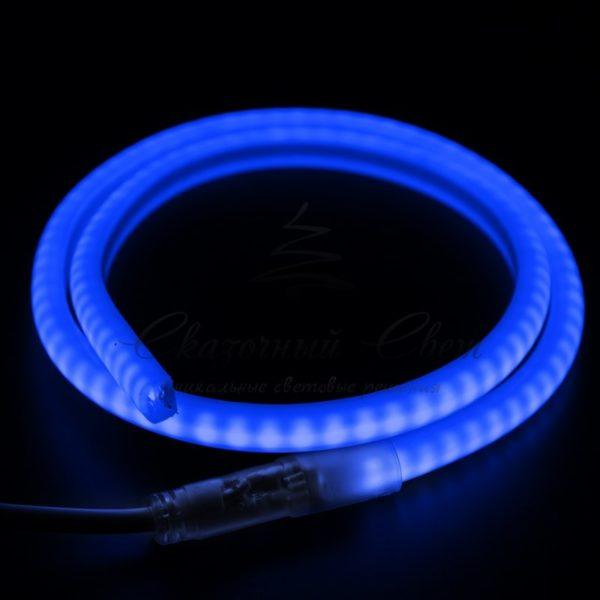 Гибкий Неон LED SMD, форма - D, синий, 120 LED/м,  бухта 100м