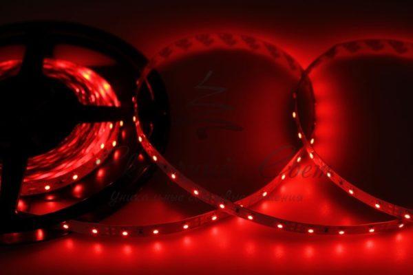 LED лента открытая, 8мм, IP23, SMD 2835, 60 LED/m, 12V, красная, катушка 5 м