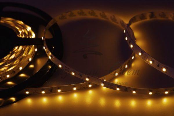 LED лента открытая, 8мм, IP23, SMD 2835, 60 LED/m, 12V, желтая, катушка 5 м