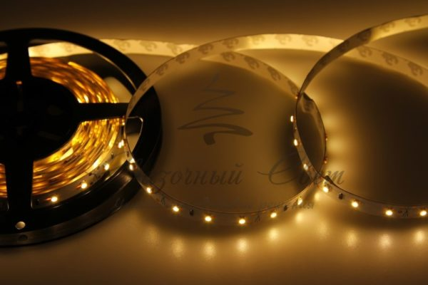 LED лента открытая, 8мм, IP23, SMD 2835, 60 LED/m, 12V, тепло-белая, катушка 5 м