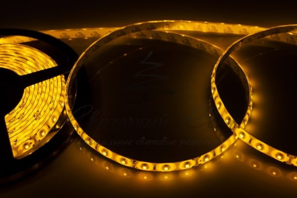 LED лента силикон, 8мм, IP65, SMD 2835, 60 LED/m, 12V, желтая, катушка 5 м