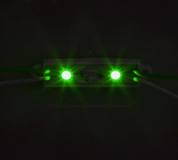 Модуль светодиодный, IP67 влагозащищенный, 2 SMD 5050 диода, ЗЕЛЕНЫЙ  NEON-NIGHT