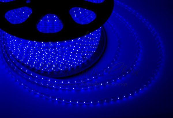 LED лента 220В, 13*8 мм, IP65, SMD 5050, 60 LED/m Синяя, бухта 100 м