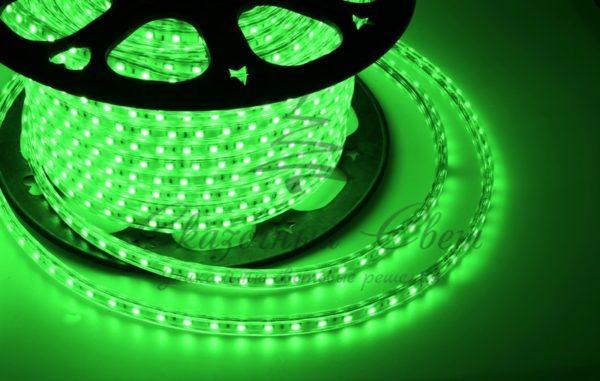 LED лента 220В, 13*8 мм, IP65, SMD 5050, 60 LED/m Зеленая, бухта 100 м