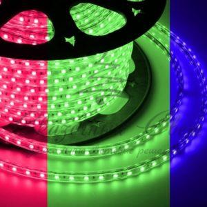 LED лента 220В, 13*8 мм, IP65, SMD 5050, 60 LED/m RGB, бухта 100 м