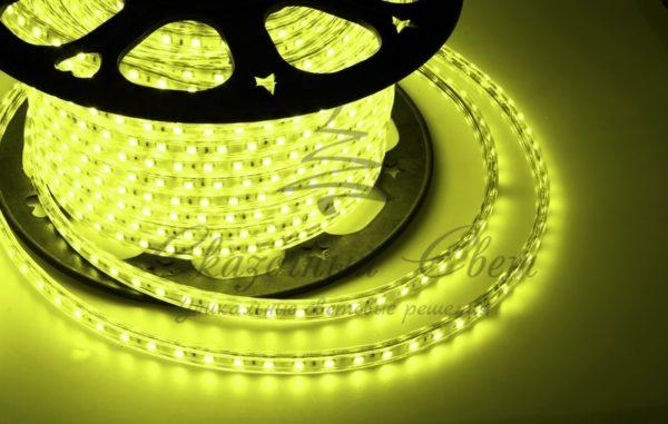 LED лента 220В, 10*7 мм, IP65, SMD 2835, 60 LED/m Желтая, бухта 100 м