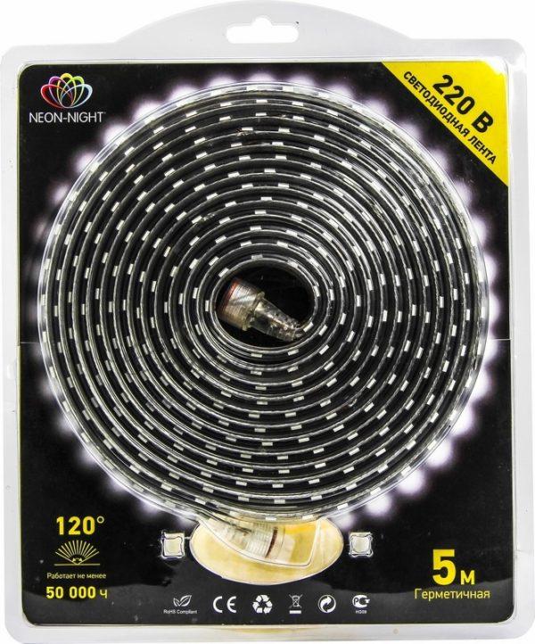 LED лента 220В, 10*7 мм, IP65, SMD 3528, 60 LED/m Синяя, блистер 5 м