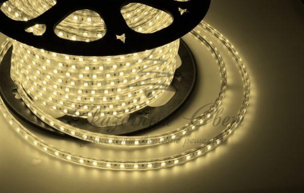 LED лента 220В, 10*7 мм, IP65, SMD 2835, 60 LED/m Тепло-белая, бухта 100 м