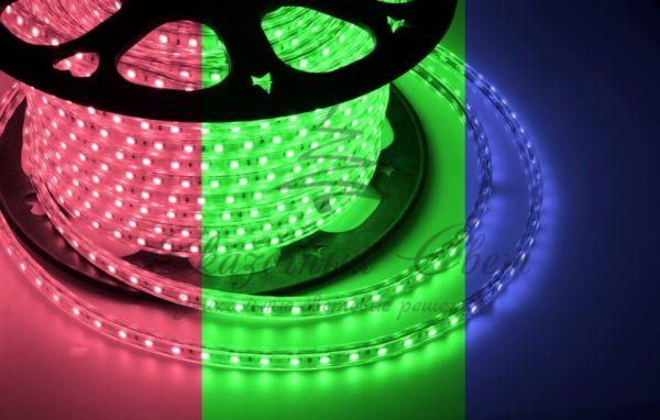 LED лента 220В, 10*7 мм, IP65, SMD 2835, 60 LED/m RGYB (МУЛЬТИ), бухта 100 м
