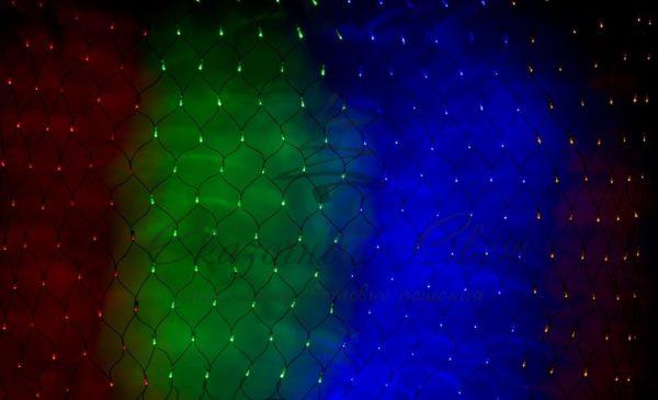 """Гирлянда """"Сеть"""" 2х1,5м, черный ПВХ, 240 LED Мультиколор"""
