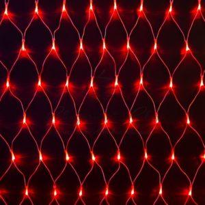 Гирлянда «Сеть» 2х1,5м, свечение с динамикой, прозрачный ПВХ, 288 LED, 230 В, цвет: Красный