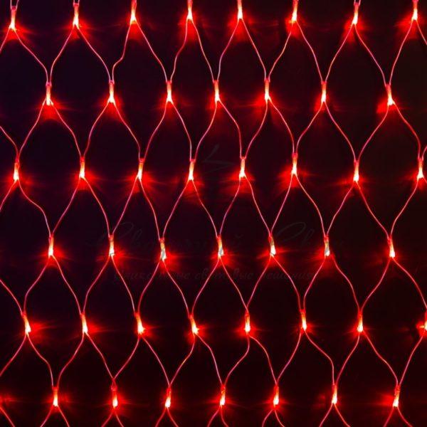 """Гирлянда """"Сеть"""" 2х1,5м, свечение с динамикой, прозрачный ПВХ, 288 LED, 230 В, цвет: Красный"""