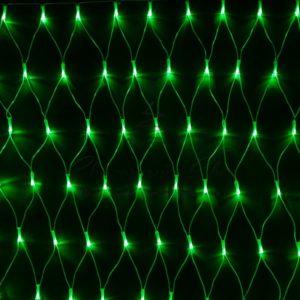 Гирлянда «Сеть» 2х1,5м, свечение с динамикой, прозрачный ПВХ, 288 LED, 230 В, цвет: Зелёный