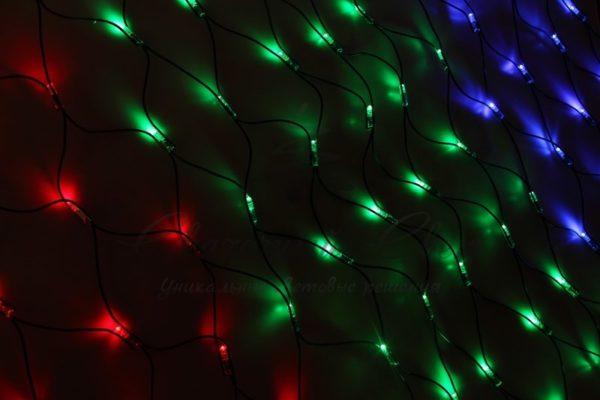"Гирлянда ""Сеть"" 1х1,5м, прозрачный ПВХ, 96 LED Мультиколор 3"