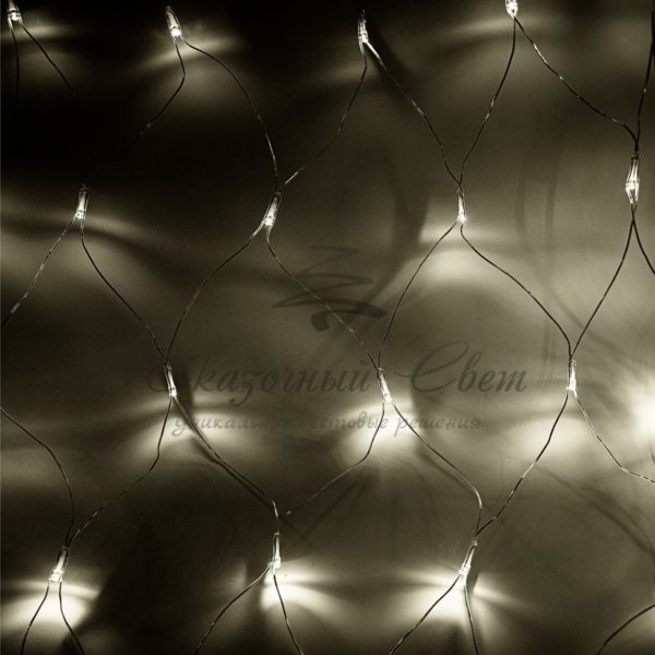 "Гирлянда ""Сеть"" 1,8х1,5м, прозрачный ПВХ, 180 LED Тепло-Белые"