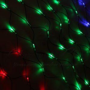 Гирлянда «Сеть» 2×1,5м, черный КАУЧУК, 288 LED Мультиколор