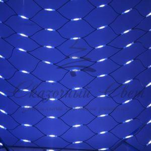 Гирлянда «Сеть» 2×3м, черный КАУЧУК, 432 LED Белые/Синие