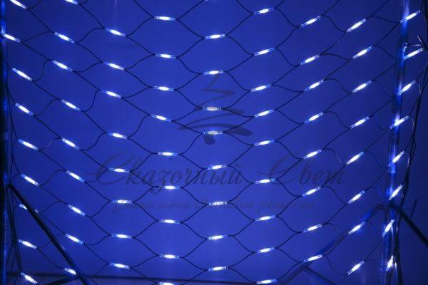 """Гирлянда """"Сеть"""" 2x3м, черный КАУЧУК, 432 LED Белые/Синие"""