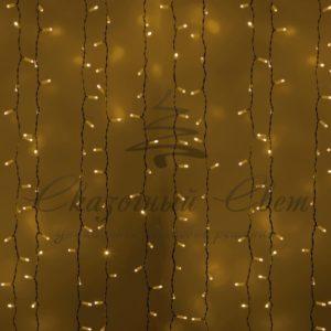 Гирлянда «Светодиодный Дождь»  2х1,5м, постоянное свечение, белый провод, 230 В, диоды ЖЁЛТЫЕ, 360 LED