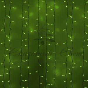 Гирлянда «Светодиодный Дождь» 2х1,5м, постоянное свечение, белый провод, 230 В, диоды ЗЕЛЁНЫЕ, 360 LED