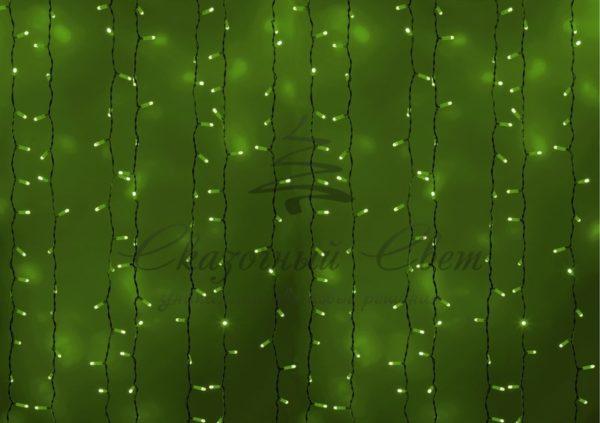 """Гирлянда """"Светодиодный Дождь"""" 2х1,5м, постоянное свечение, белый провод, 230 В, диоды ЗЕЛЁНЫЕ, 360 LED"""