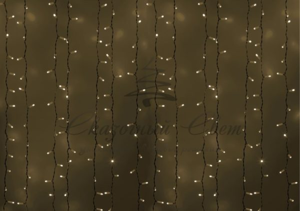 """Гирлянда """"Светодиодный Дождь"""" 2х1,5м, постоянное свечение, белый провод, 230 В, диоды БЕЛЫЕ, 360 LED"""