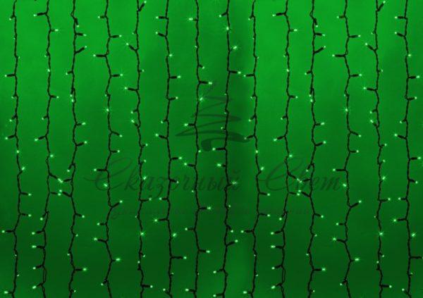 """Гирлянда """"Светодиодный Дождь"""" 2х1,5м, постоянное свечение, черный провод, 230 В, диоды ЗЕЛЁНЫЕ, 360 LED"""