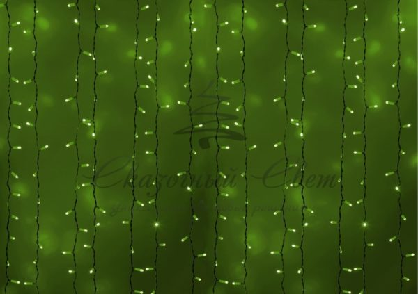 """Гирлянда """"Светодиодный Дождь"""" 2х3м, постоянное свечение, белый провод, 230 В, диоды ЗЕЛЁНЫЕ, 760 LED"""