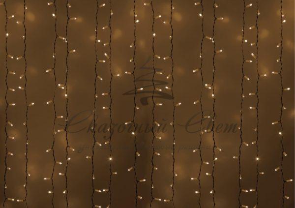 """Гирлянда """"Светодиодный Дождь"""" 2х3м, постоянное свечение, белый провод, 230 В, диоды ТЁПЛО БЕЛЫЕ, 760 LED"""
