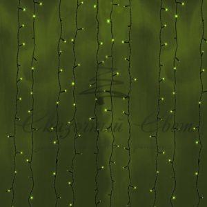 Гирлянда «Светодиодный Дождь» 2х3м, постоянное свечение, черный провод, 230 В, диоды ЗЕЛЁНЫЕ, 760 LED