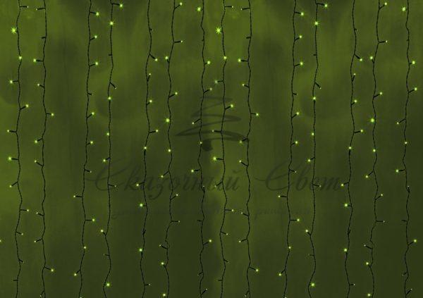 """Гирлянда """"Светодиодный Дождь"""" 2х3м, постоянное свечение, черный провод, 230 В, диоды ЗЕЛЁНЫЕ, 760 LED"""