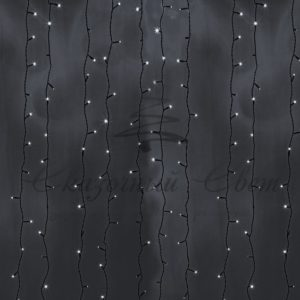 Гирлянда «Светодиодный Дождь» 2х3м, постоянное свечение, черный провод, 230 В, диоды БЕЛЫЕ, 760 LED