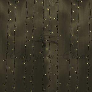 Гирлянда «Светодиодный Дождь» 2х3м, постоянное свечение, черный провод, 230 В, диоды ТЁПЛО БЕЛЫЕ, 760 LED