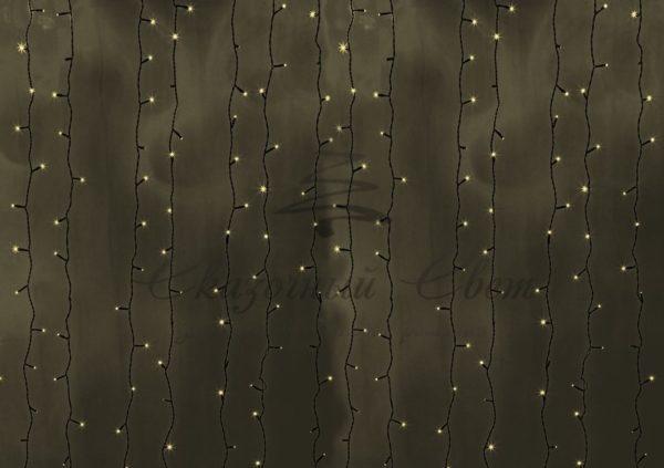 """Гирлянда """"Светодиодный Дождь"""" 2х3м, постоянное свечение, черный провод, 230 В, диоды ТЁПЛО БЕЛЫЕ, 760 LED"""