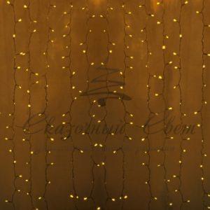 Гирлянда «Светодиодный Дождь» 2х3м, постоянное свечение, прозрачный провод, 230 В, диоды ЖЁЛТЫЕ, 760 LED