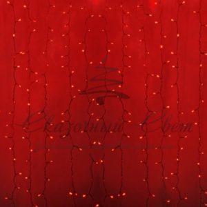Гирлянда «Светодиодный Дождь» 2х3м, постоянное свечение, прозрачный провод, 230 В, диоды КРАСНЫЕ, 448 LED