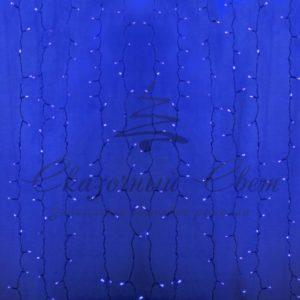 Гирлянда «Светодиодный Дождь» 2х3м, постоянное свечение, прозрачный провод, 230 В, диоды СИНИЕ, 448 LED
