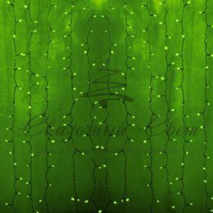 Гирлянда «Светодиодный Дождь» 2х3м, постоянное свечение, прозрачный провод, 230 В, диоды ЗЕЛЕНЫЕ, 448 LED
