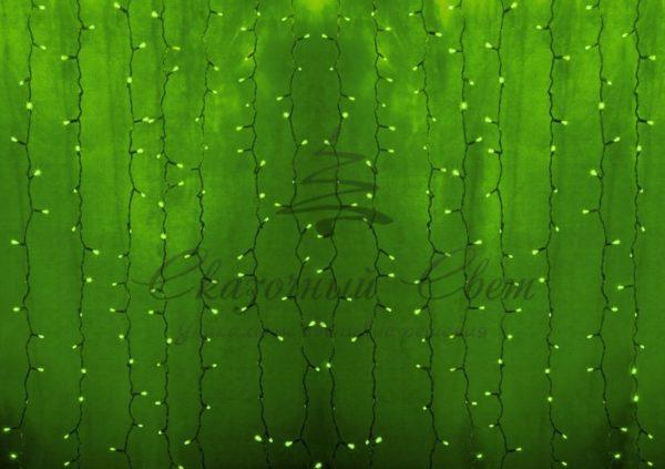 """Гирлянда """"Светодиодный Дождь"""" 2х3м, постоянное свечение, прозрачный провод, 230 В, диоды ЗЕЛЕНЫЕ, 448 LED"""