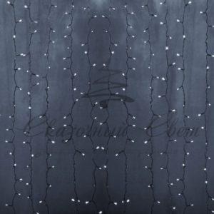 Гирлянда «Светодиодный Дождь» 2х3м, постоянное свечение, прозрачный провод, 230 В, диоды БЕЛЫЕ, 448 LED