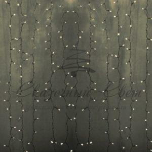 Гирлянда «Светодиодный Дождь» 2х3м, постоянное свечение, прозрачный провод, 230 В, диоды ТЕПЛО-БЕЛЫЕ, 448 LED