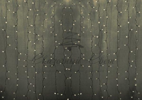 """Гирлянда """"Светодиодный Дождь"""" 2х3м, постоянное свечение, прозрачный провод, 230 В, диоды ТЁПЛО БЕЛЫЕ, 760 LED"""